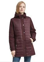 New IKAZZ Maroon Women's Jacket Fleece Hooded Quilted Lightweight Sz S NWT /431