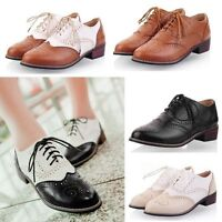 Brogues Lace Up Low Heels Wingtip Shoes Vintage Preppy College Oxfords Zsell