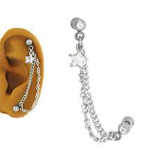 Ring 6.5mm Star Cz Gauge 16G 316L Surgical Steel Ear Cartilage Piercing Earring
