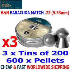 H&N BARACUDA MATCH .22 5.53mm Airgun Pellets 3(tins)x200pcs HUNTING & FT