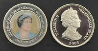 NIGHTINGALE ISLAND - RARE COLORED 1 CROWN UNC COIN 2005 YEAR QUEEN MOTHER YOUNG