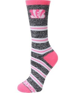 Cincinnati Bengals Football Pink & Gray Marbled Melange Striped Deuce Crew Socks
