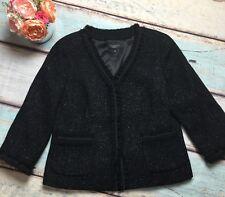 Talbots Size 12 Black Sparkly Ruffle 3/4 Sleeve Career Lined BlazerJacket NWOT
