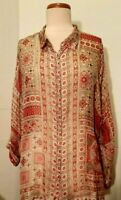 Women's Johnny Was Silk top Sz M/L Sheer - Red Ethnic patterns