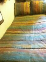 South Beach Pastel Stripe Bed Comforter Pillow Blue Purple Rose Green Gold Q K