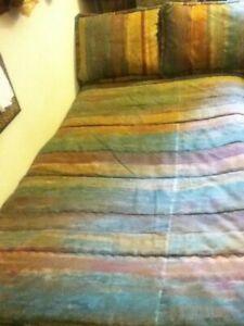 South Beach Pastel Stripe Bed Comforter Pillow Blue Purple Rose Green Gold Q K