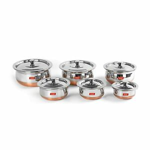 Stainless Steel Copper Bottom 6 Pc Handi / Servware Pot Set with Lid