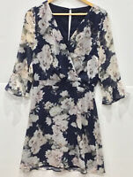 Portmans Dress Size 10 Blue Floral 3/4 Sleeves Fit and Flare 3/4 sleeves