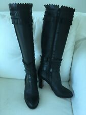 FAB CONDITION Christian Louboutin Black Leather High Boots Fringe/Stitching 39
