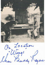 "Charles ""Buddy"" Rogers 1904-99 autograph signed card 4""x6"" w.attached picture"