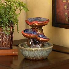 "Indoor Water Fountain with 9 1/4"" High Ceramic Toadstools for Table Top Desk"