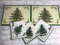 8 Vintage Pimpernel Spode Christmas Tree Corked Back Placemats and 3 Napkins