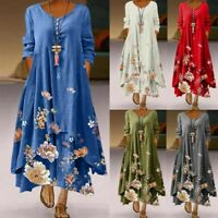 Fashion Women Long Maxi Sundress Abaya Kaftan Loose VNeck Floral Boho Dress