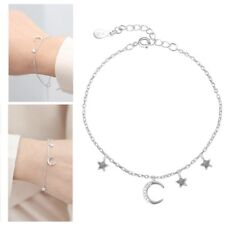 S925 Sterling Silver Chain Cubic Zircon Crystal Moon Star Charm Pendant Bracelet