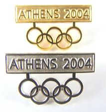 Athens Olympic Games 2004 Pin Badge - Gold / Silver Tone Olympic Rings x 2 pins