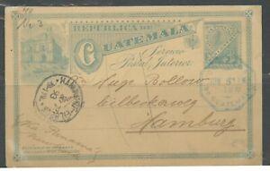 GUATEMALA CITY 6/5/1893 3C POSTAL STATIONERY CARD TO HAMBURG 3/3/1893 AS SHOWN