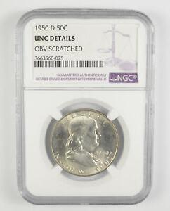 UNC DETAILS 1950-D Franklin Half Dollar - 90% SILVER - NGC Graded *611