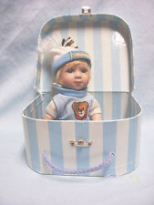 """Porcelain Collectible Boy Doll 8"""" Blue eyes Blonde Hair Blue & White Suitcase"""