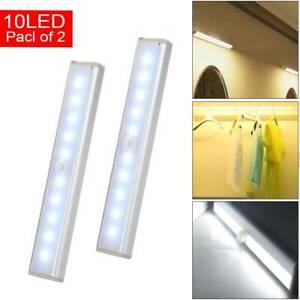 Pack of 2x Motion Sensor Cabinet LED Lights Battery PIR Wardrobe Cupboard Light