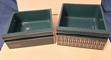 Vintage Mid Century Enamel Refrigerator Drawers Metal Blue Bin Tray