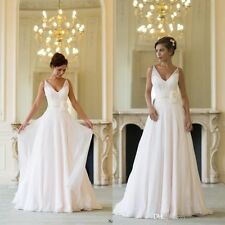 Chiffon Beach White/Ivory Bridal Gown Wedding Dress Custom Size 6-8-10-12-14-16+