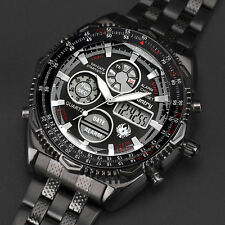 INFANTRY Mens Digital Quartz Wrist Watch Chrono Army Sport Black Stainless Steel