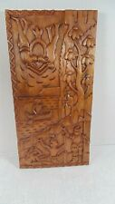VIntage  Aztec? Mayan? Wood Carved Panel 16x8 Light Wood