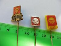 Lot of 3 SHELL OIL Fuel Company vintage pin badges......1960s.(F)