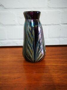 Vintage Signed WE Porter 78 Iridescent Mid Century Hand Blown Glass Vase