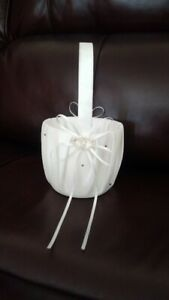 White Flower Girl Basket with Crystal Rhinestones and ribbons
