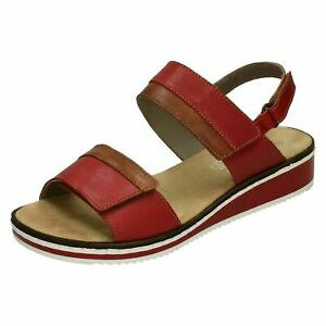 Damen Rieker Sommer Keilabsatz Leather Sandalen V36B9