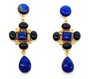 Handmade Gold Polished Art Deco Lapis Black Onyx Drop Dangle Earrings