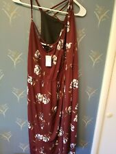 Maurices Sleeveless Floral Red Front Mid Length Dress Plus Size NWT