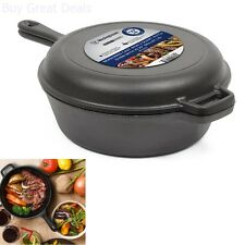 3 Qt Cast Iron Oven Deep Fryer Skillet Pre-seasoned Pot Pan Combo Cooker New