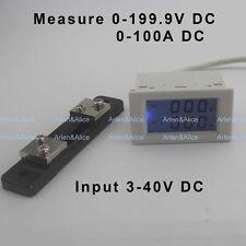 DC voltmeter ammeter range DC 0-199.9V 0-100A Blue backlight DC 3~40 Input