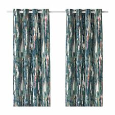 Ikea Gräslilja buntes blickdichtes Gardinenpaar 2x 145x300cm Baumwollmischung