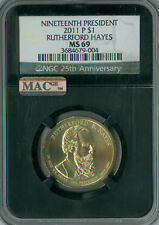 2011-D RUTHERFORD HAYES PRES.DOLLAR NGC MAC MS 69 RETRO FINEST  POP-8 SPOTLESS.