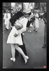 Time Life War Time Square Sailor Kiss on VJ Day Sailor Framed Poster 12x18