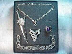 Final Fantasy X 10 FF10 Blade Bracelet Amber Ring Necklace PG Set