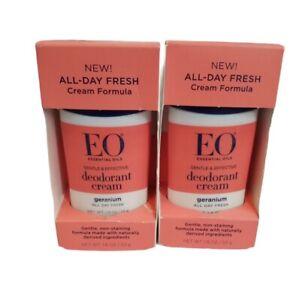 EO Deodorant Cream Geranium 1.8 oz Essential Oils All Day Fresh lot x 2