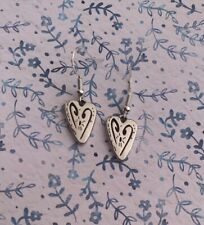 Brighton Brazilian HEART Scrollwork Silver French Wire Custom Earrings