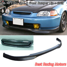 TR Style Front Bumper Lip (PU) + TR Style Grill (ABS) Fit 96-98 Civic 3dr