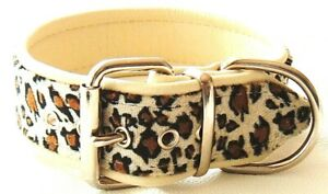 Leopard print and cream leather dog collar