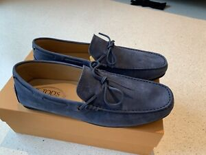 Tod's Laccetto Gommino City Blue Suede Drivers US 11 UK 10 Made In Italy $600