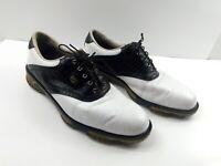 Footjoy DryJoys Tour Men's Golf Shoes White Black Croc Print Saddle Spikes 11.5
