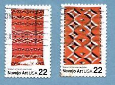Sellos de EE. UU. 1986 Arte Popular. mantas Navajo SG2229/30