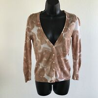 J Crew Womens Sweater Cardigan Cotton Linen Floral Button V Neck Size XS