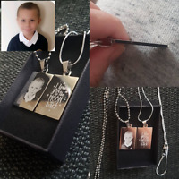 Personalised Photo/Text Engraved Rectangle Pendant - Wedding Birthday Gift.