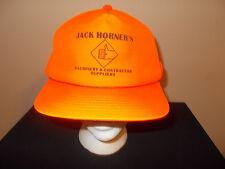 VTG-1980s Jack Horner Machinery Supplies Blaze Orange Deer Hunting hat sku7