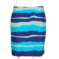 ANN TAYLOR Blue Navy Turquoise Wave Stripe Pencil Skirt Back Zipper size 6